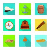 Vector Design Of Journey And Seafaring Icon. Set Of Journey And Vintage Stock Vector Illustration. poster
