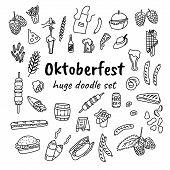 Oktoberfest Doodle Style Hand Drawn Doodles. Cartoon Glass Of Beer, Can, Bottle, Apron, Kebab, Franc poster