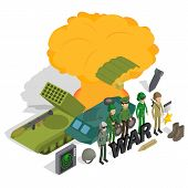 War Concept Banner. Isometric Banner Of War Vector Concept For Web, Giftcard And Postcard poster