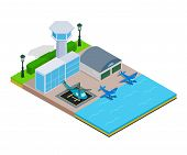 Water Airport Concept Banner. Isometric Banner Of Water Airport Vector Concept For Web, Giftcard And poster