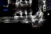 The Light On The Road At Night And The City In Warsaw Road Beautiful. Aerial View. Top View. Backgro poster