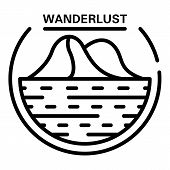 Wanderlust Logo. Outline Wanderlust Vector Logo For Web Design Isolated On White Background poster