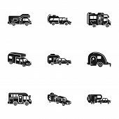 Tourism Motorhome Icon Set. Simple Set Of 9 Tourism Motorhome Vector Icons For Web Design Isolated O poster