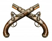 stock photo of crossed pistols  - Two Crossed Flintlock Pistols against white background - JPG