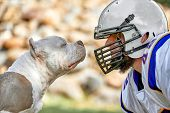 Face To Face Man And Dog. An American Football Player In A Helmet And Uniform Stands Face To Face Wi poster
