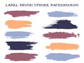 Artistic Label Brush Stroke Backgrounds, Paint Or Ink Smudges Vector For Tags And Stamps Design. Pai poster