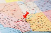 Red Clerical Needle On A Map Of Usa, California And Sacramento Capital. Close Up Map Of California W poster