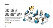 Customer Journey Map Isometric Web Banner. Process Of Purchasing Decision, Buyer Make Purchase Movin poster