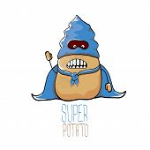 Vector Funny Cartoon Cute Brown Super Hero Potato With Blue Hero Cape And Hero Mask Isolated On Whit poster