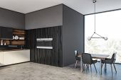 Gray And Wooden Kitchen Corner With Table poster