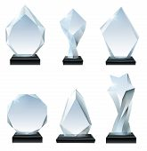 Glass Trophy Award. Acrylic Awards, Crystal Shape Trophies And Winner Award Glassy Board Transparent poster
