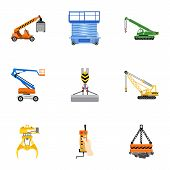 Lifting Machinery Icon Set. Flat Set Of 9 Lifting Machinery Vector Icons For Web Design Isolated On  poster