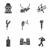 Street Hip Hop Icon Set. Simple Set Of 9 Street Hip Hop Vector Icons For Web Design Isolated On Whit poster