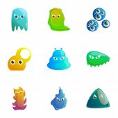 Mystery Monster Icon Set. Cartoon Set Of 9 Mystery Monster Vector Icons For Web Design Isolated On W poster