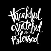 Thankful Grateful And Blessed Lettering. Motivational Quote. poster