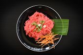 Rice Vermicelli Pink Frying And Vegetable / Stir Fried Rice Noodles With Red Sauce Served On Plate O poster
