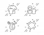 Dirty Water, Clean T-shirt And Clean Shirt Line Icons Set. Dirty Spot Sign. Aqua Drop, Laundry Shirt poster