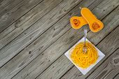 Top View Of Healthy Butternut Squash Noodles With Fork Stuck In Pasta poster