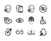Set Of Medical Icons, Such As Clean Skin, Face Recognition, 24 Hours, Eyeglasses, Face Biometrics, D poster