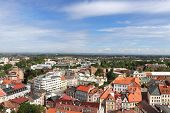 Wonderful View From Historical Tower In Hradec Kralove. Market Square And Historical Part Of Town. A poster