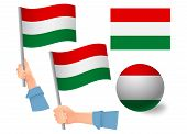 Hungary Flag In Hand Set. Ball Flag. National Flag Of Hungary Illustration poster