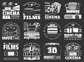 Cinema And Movie Vector Badges With Film Reel, Movie Theater And Tv Set, Popcorn, 3d Glasses And Vid poster