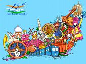 Vector Design Of Indian Collage Illustration Showing Culture, Tradition And Festival On Happy Indepe poster
