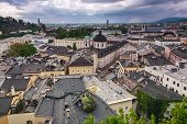 Cityscape Panorama Of Salzburg. Rooftops Buildings Cityscape Of Salzburg. City View Of Salzburg. Sal poster