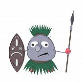 Funny Cartoon Aboriginal Pip With A Spear And Shield Stands And Tries To Smile. poster