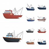 Vector Design Of Boat And Fishing Icon. Set Of Boat And Vessel Stock Symbol For Web. poster