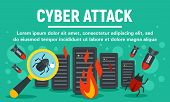 Server Cyber Attack Concept Banner. Flat Illustration Of Server Cyber Attack Vector Concept Banner F poster