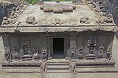 picture of ellora  - Hindu temple carved out of solid rock - JPG