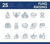 Fund Raising Icons. Line Icons Collection On White Background. Animal Shelter, Volunteering, Giving  poster