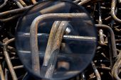 Industrial Background Through A Magnifying Glass. Rebar Texture. Rusty Rebar For Concrete Pouring. S poster