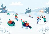 Kids Riding Sledding Slide. Snow Landscape, Winter Snowy Fun Activities. Sled Speed Riding Or Childh poster