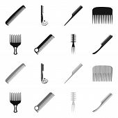 Vector Illustration Of Brush And Hair Symbol. Set Of Brush And Hairbrush Vector Icon For Stock. poster