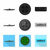 Isolated Object Of War And Ship Symbol. Set Of War And Fleet Stock Vector Illustration. poster