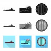 Vector Illustration Of War And Ship Sign. Collection Of War And Fleet Vector Icon For Stock. poster
