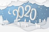 Vector Winter Night Scene With Fir Trees, Houses, Moon, Deer And Realistic 2020 Numbers Foil Balloon poster