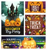 Halloween Trick Or Treat Party, Scary Pumpkin Lanterns And Horror Monster Candy Skulls And Eyes. Vec poster