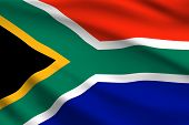 South Africa Flag, 3d Realistic Wavy Banner. Vector South Africa Republic National Flag And Independ poster