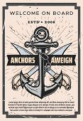 Nautical Vintage Poster, Welcome On Board Marine Sailing Adventure. Vector Nautical Ship Anchor With poster
