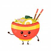Happy Cute Smiling Funny Ramen Bowl. Vector Flat Cartoon Character Illustration Icon Design.isolated poster
