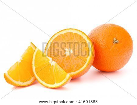 Whole orange fruit and his segments or cantles isolated on white background cutout