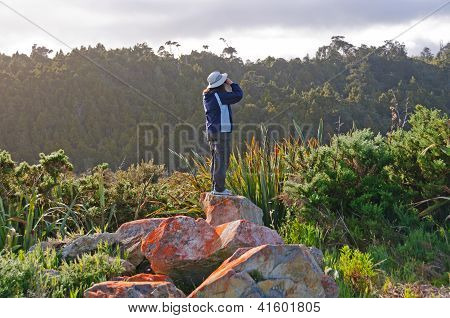 Birdwatcher Trying To See The Birds
