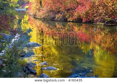 Deep Fall Colors Wenatchee River Stevens Pass Leavenworth Washin
