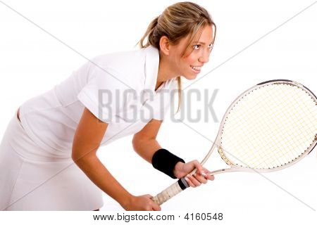 Side View Of Tennis Player Going To Play