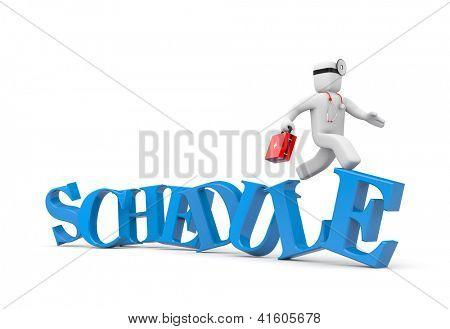 Business man running on schedule