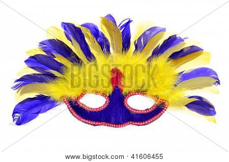 a carnival mask with feathers of different colors on a white background