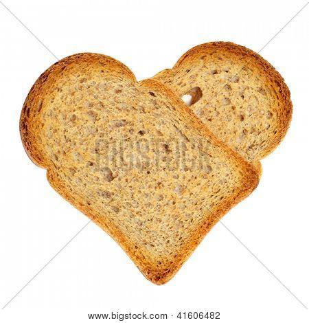 ein paar Brot Zwieback bilden ein Herz auf weißem Hintergrund